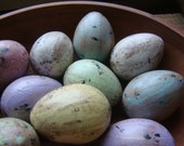 Primitive Shabby Cottage Chic Easter Eggs, Pastel Speckled Paper Mache Eggs, rustic and distressed eggs