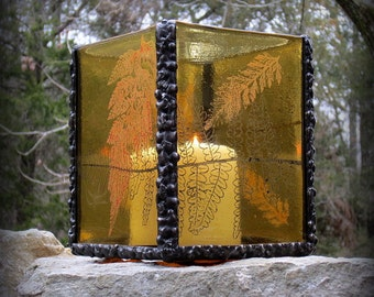 Stained Glass Candle Holder Golden Amber with Fern Print