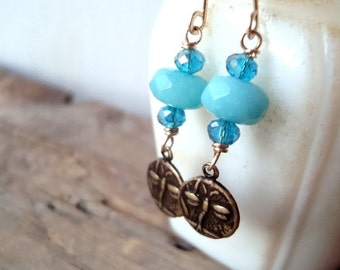 Brass Dragonfly Earrings With Aqua Jade Nature Inspired Gemstone Jewelry Bridesmaid Earrings Blue Dangle Earrings Insect Jewelry