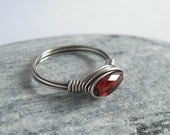 Gemstone Garnet Ring, 925 Sterling Silver Wire Wrapped Ring, Custom Ring Size