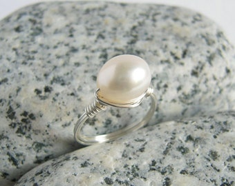 Oval Pearl Ring, Sterling Silver White Freshwater Pearl Jewelry, Custom Size