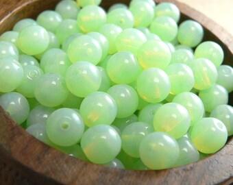 Mint Opal Czech Glass Beads Round Druk Milky 6mm (30)