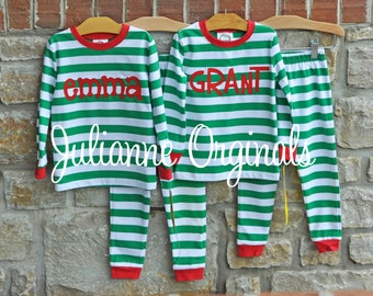 Christmas Green Stripe Pajamas - Personalized Monogram PJs - Size 12m-10 years - JULIANNE ORIGINALS