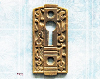 Eastlake Brass Gothic Keyhole Escutcheon Antique Victorian Key Plate Furniture Hardware