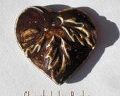 Handcrafted Bronze Tomokku Porcelain Heart Pendant