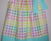 Girls Dress Pillowcase Dress Pastel Colors Checks and Dots Spring dress Summer dress baby dress toddler dress Kids Clothes Sundress