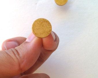 Gold Wood Stud earrings Fake Gauge Wooden Post Earrings