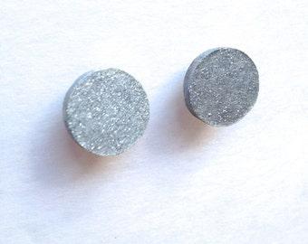 Silver Wood Stud earrings Fake Gauge Wooden Post Earrings