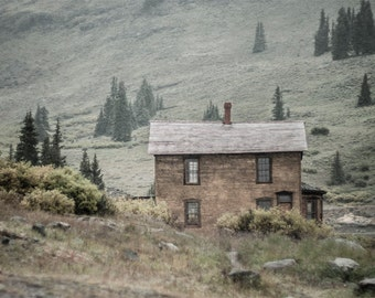Rustic Photo, Colorado Cabin Photography, Solace in the Mountains, Fine Art Print, Rustic Cabin Decor, Muted Tones Wall Art, Victorian House