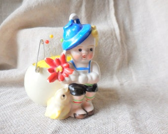 Vintage Little Boy and Chick standing  next to Potted Egg Pin Cushion, Made in Japan