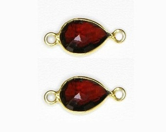 Red Garnet Framed In Vermeil Bezel Connector