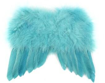 Fluffy Teal Peacock Blue Angel Wings Feather Tree Easter Christmas Tree Ornament Decoration Crafts