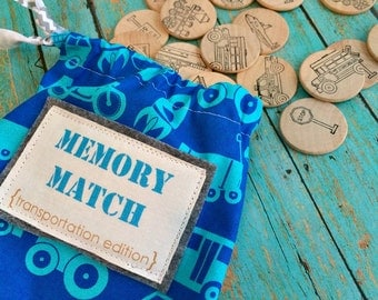 NEW Wooden Matching Memory Game -- TRANSPORTATION Edition
