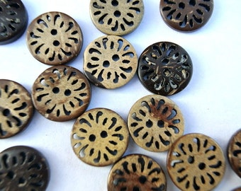10 Buttons coconut shell buttons inside carved flower ornament 13mm