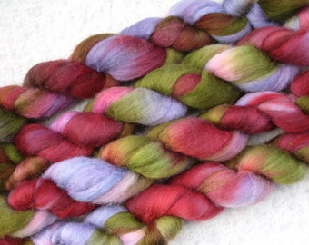 Handpainted Roving -- Blueface Leicester Wool