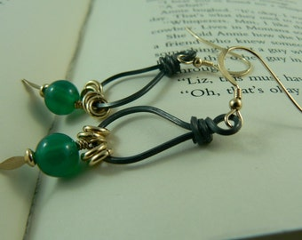 Black Silver Green Onyx Earrings