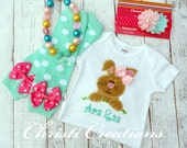 Baby Girl Easter Outfit - Easter Bunny bodysuit - Leg Warmers - Headband - Necklace - You Choose - Pink and Aqua