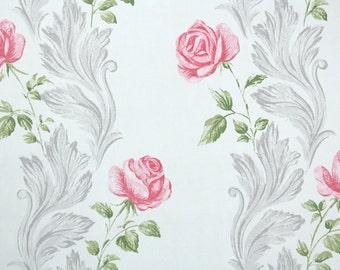1930s Vintage Wallpaper - Pink Rose Stripe