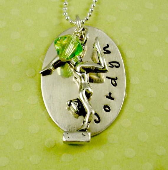 Hand Stamped  Jewelry Necklace Gymnastics Gymnast Sterling Personalized Birthstone by RoseCreekCottage