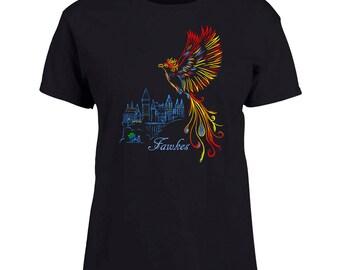 Ladies Black T-shirt Fawkes at Hogwarts Phoenix Harry Potter Fan Art Sizes XS-2X