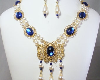 Renaissance Necklace, Medieval Necklace, Tudor Necklace, Medieval Jewelry, Renaissance Jewelry, Jewelry, Elizabethan Necklace, U PK COLORS