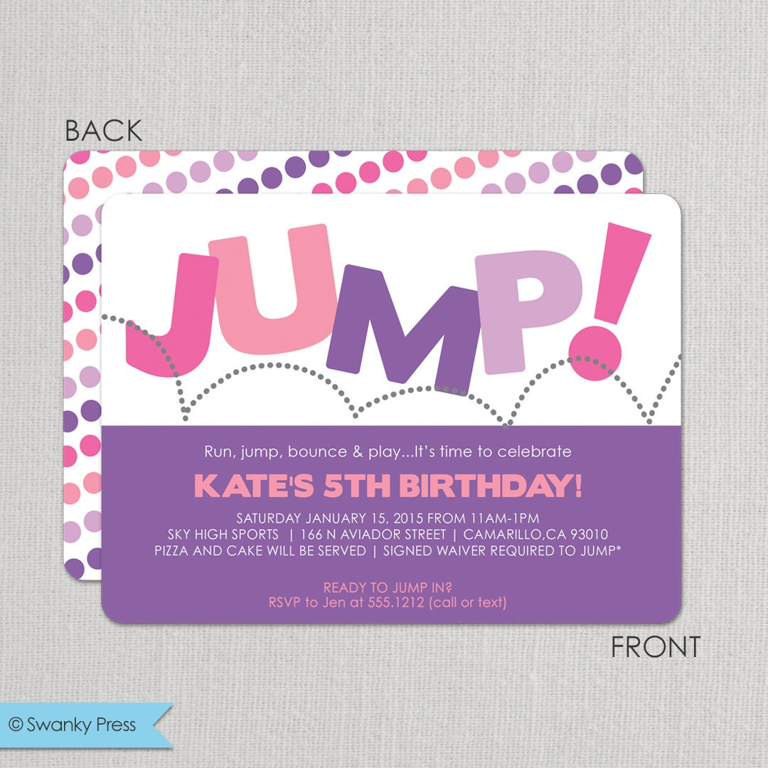 Trampoline Party Invitations: Trampoline Birthday Party Invitation For Girls Pump It Up