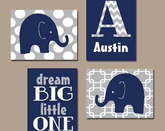 BOY Elephant Wall Art, Navy Blue Boy Elephant Nursery Baby Boy Nursery Wall Art, Boy Bedroom Canvas or Prints Boy Nursery Dream Big Set of 4