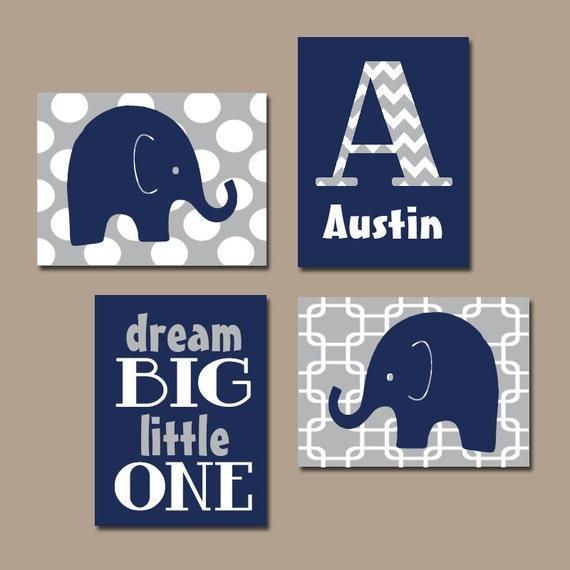 Navy Blue Wall Decor Nursery : Boy elephant wall art navy blue nursery baby