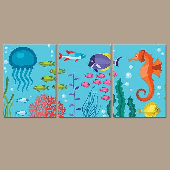 Bathroom Sea Wall Decor : Ocean bathroom wall art nautical under the sea life girl boy
