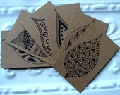 Gift Notes Envelopes and Stickers - Original Leaf Illustrations - Upcycled Brown Bags