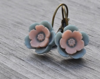 Blue and Pink Earrings, Cherry Blossom Floral Earrings, Spring Wedding, Bridesmaid Jewelry Antiqued Brass, Lever Back Earrings, Gift for Her