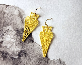 yellow lace earrings // ZAHRA // geometric earrings / art deco earrings / modern earrings/ unique earrings / statement earrings