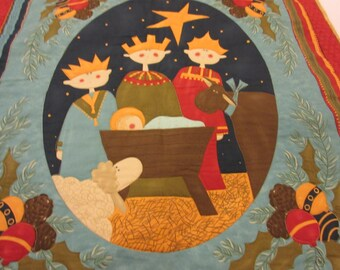Adoration,  a Quilted Nativity  Wall Hanging