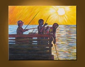Fishing on the Pier -- 24 x 30 inch Original Oil Painting by Elizabeth Graf on Etsy, Art Painting