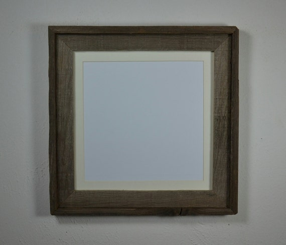 rustic 12x12 wood frame with off white mat by barnwood4u on etsy. Black Bedroom Furniture Sets. Home Design Ideas