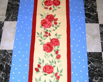 "FLOORCLOTH    Hand Painted Canvas Rug  30""x6'  WHIMSICAL"