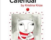 Cat Calendar 2015, Illustration, Art Calendar, Small, Cat Lovers