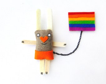 Rainbow Brooch, Bunny Brooch, Valentines Day, Love Jewelry, Cute Love