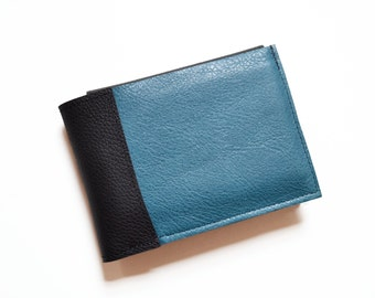 Mens Personalized Wallet, Mens Leather Wallet, Boyfriend Gift, Credit Card Wallet, Gift for Him - The Wesley Wallet in Pacific Blue
