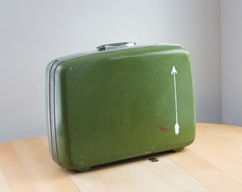 Vintage Suitcase / Hand painted Luggage / Lime Green Arrow