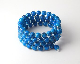 Memory Wire Blue Black Bracelet - Chunky Deep Turquoise & Black Marbled Glass Beads Beaded Wrap Cuff Bracelet