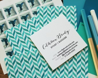 offset chevron calling cards / business cards/ blogger cards - set (50)