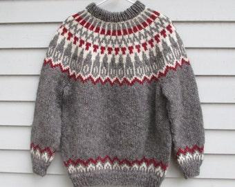 Icelandic Sweater, Womens Medium Large, Size 44 46, Handknit Lopi Wool