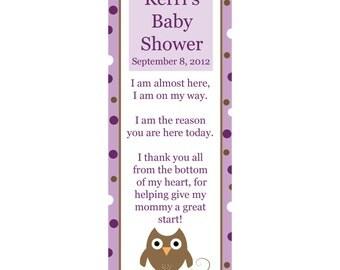 65 Personalized Baby Shower Keepsake Bookmarks - OWL - Purple