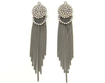 Long Gunmetal Rhinestone Chain Tassel Fringe Earring Findings |S19-10|2
