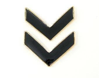 2 Pcs Black Chevron Pendant Black Resin Gold Trim Jewelry Component |BL1-13|2