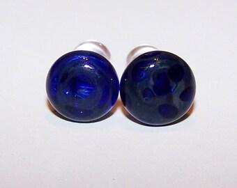 2 gauge dark cobalt glass plugs single flare with o-rings (303)
