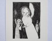 angel sing - an original pen drawing - portrait illustration