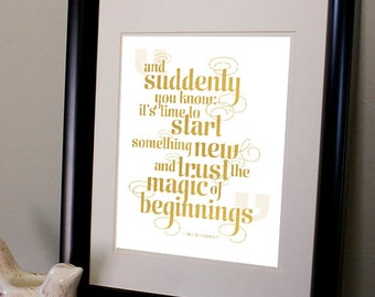 Magic of Beginnings - Inspirational Typographic Print
