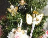 Vintage Christmas 4 Angel Ornaments